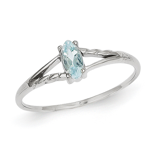 14kt White Gold 1/4 Ct Marquise Aquamarine Ring