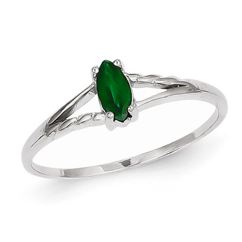 14kt White Gold 1/4 ct Marquise Emerald Ring