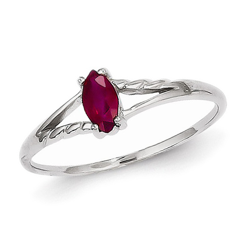 14kt White Gold 1/3 ct Marquise Ruby Ring