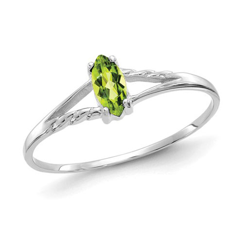 14kt White Gold 1/4 Ct Marquise Peridot Ring