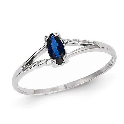14kt White Gold 1/3 ct Marquise Blue Sapphire Ring