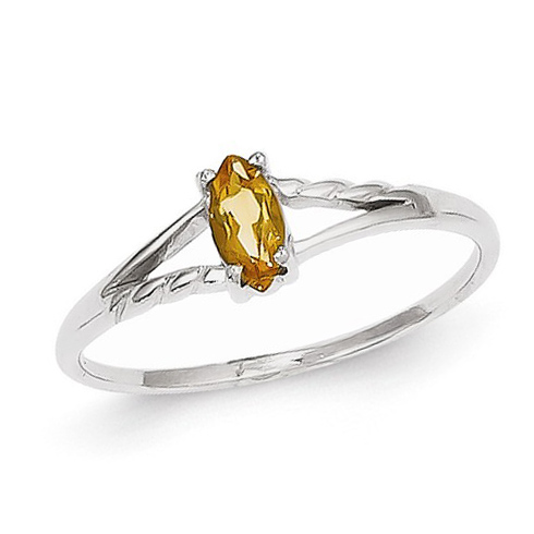 14kt White Gold 1/5 ct Marquise Citrine Ring
