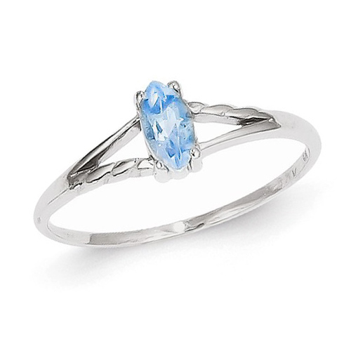 14kt White Gold 1/4 ct Marquise Blue Topaz Ring