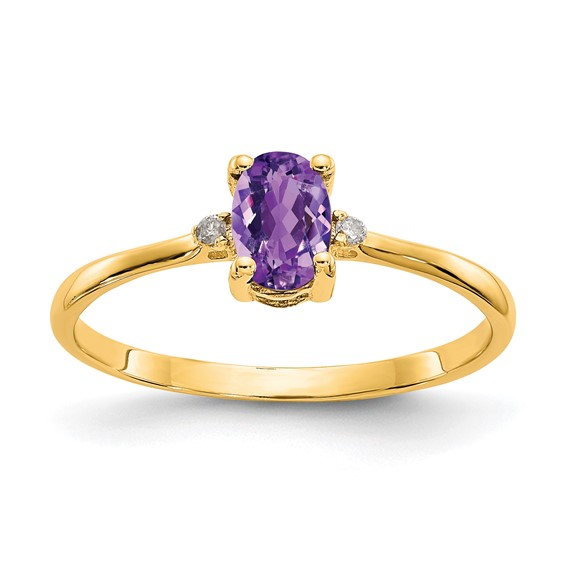 14kt Yellow Gold 2/5 ct Oval Amethyst Ring with Diamonds