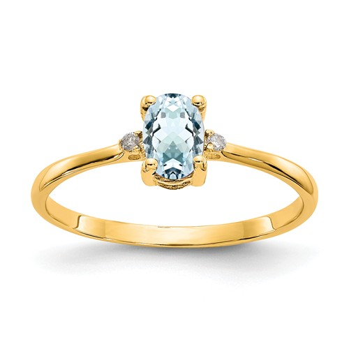 14kt Yellow Gold 2/5 Ct Oval Aquamarine Ring with Diamond Accents