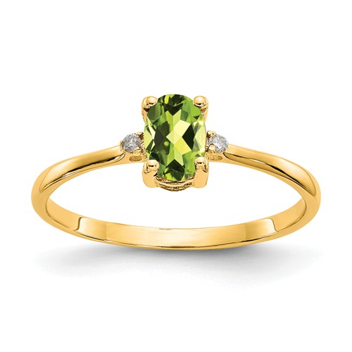 14kt Yellow Gold 1/2 Ct Oval Peridot Ring with Diamond Accents
