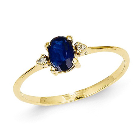 14kt Yellow Gold 2/3 ct Oval Sapphire Ring with Diamonds