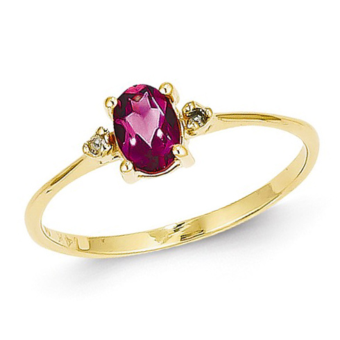 14kt Yellow Gold 1/2 ct Oval Pink Tourmaline Ring with Diamonds