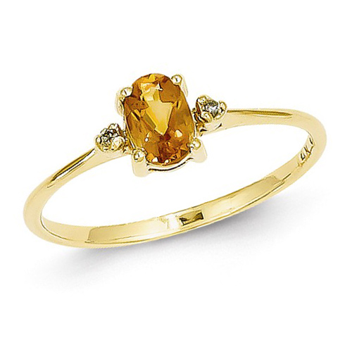 14kt Yellow Gold 2/5 ct Oval Citrine Ring with Diamonds
