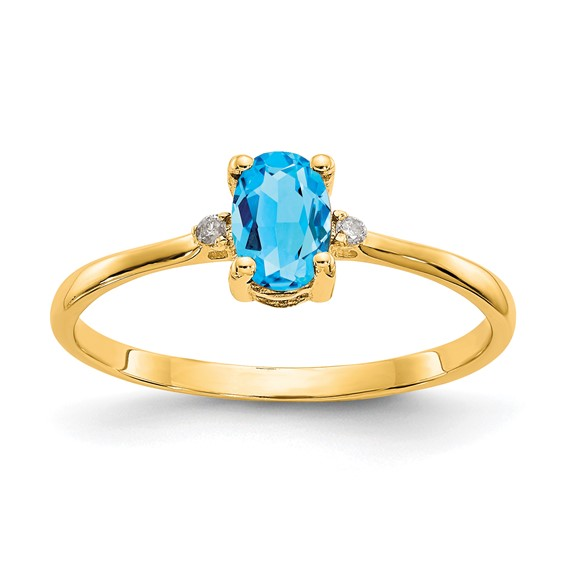 14kt Yellow Gold 1/2 ct Oval Blue Topaz Ring with Diamonds