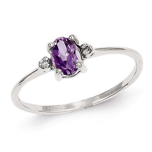 14kt White Gold 2/5 ct Oval Amethyst Ring with Diamonds
