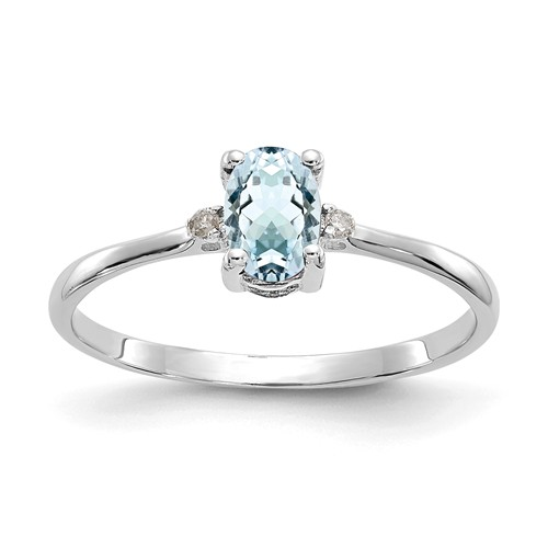 14kt White Gold 2/5 Ct Oval Aquamarine Ring with Diamond Accents