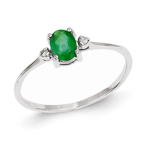 14kt White Gold 1/2 ct Oval Emerald Ring with Diamonds
