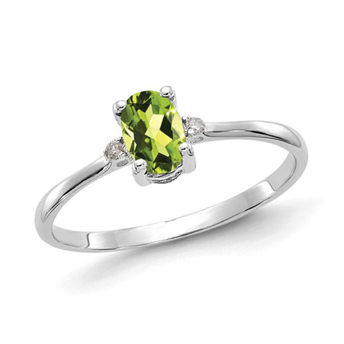 14kt White Gold 1/2 Ct Oval Peridot Ring with Diamond Accents