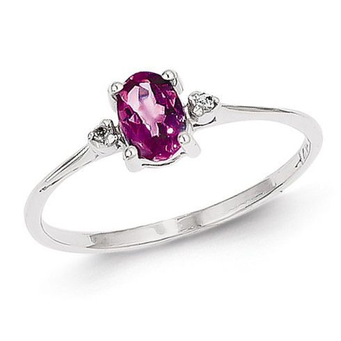 14kt White Gold 1/2 ct Oval Pink Tourmaline Ring with Diamonds