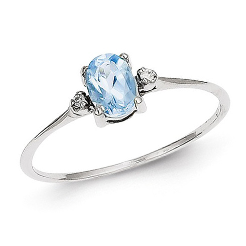 14kt White Gold 1/2 ct Oval Blue Topaz Ring with Diamonds