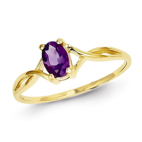 14kt Yellow Gold 2/5 ct Oval Amethyst Ring