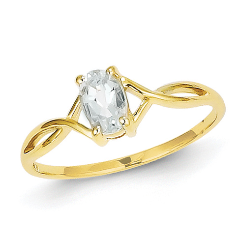 14kt Yellow Gold 2/5 Ct Oval Aquamarine Ring