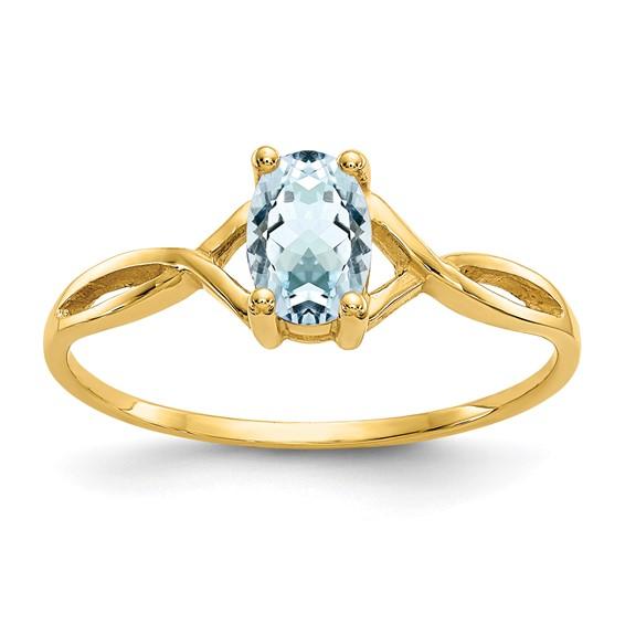 14kt Yellow Gold 2/5 Ct Oval Aquamarine Ring