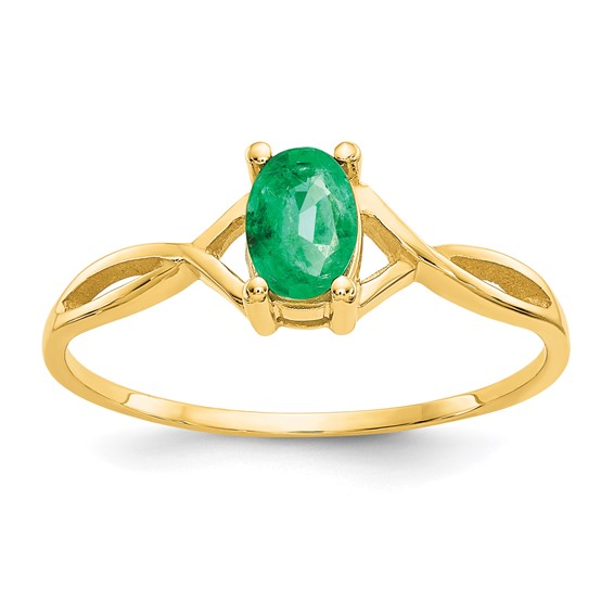14kt Yellow Gold 1/2 ct Oval Emerald Ring