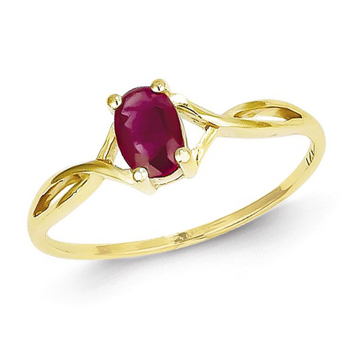 14kt Yellow Gold 5/8 ct Oval Ruby Ring