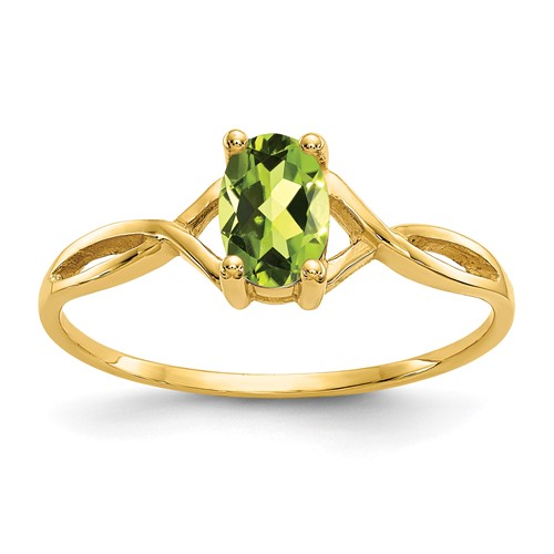 14kt Yellow Gold 1/2 Ct Oval Peridot Ring