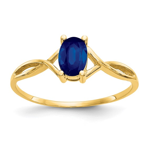 14kt Yellow Gold 2/3 ct Oval Sapphire Ring