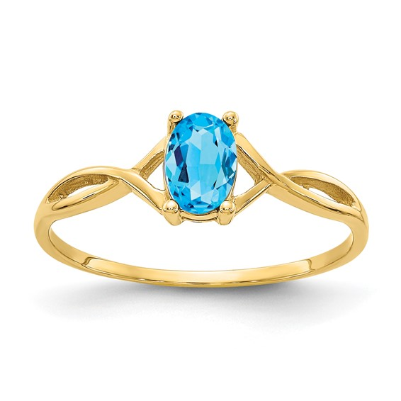 14kt Yellow Gold 1/2 ct Oval Blue Topaz Ring