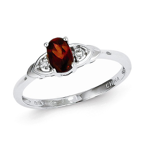 14kt White Gold 1/5 Ct Oval Garnet Ring with Diamond Accents