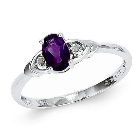 14kt White Gold 1/5 Ct Oval Amethyst Ring with Diamond Accents