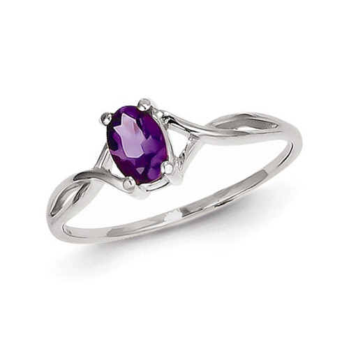 14kt White Gold 2/5 ct Oval Amethyst Ring