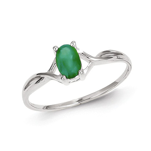 14kt White Gold 1/2 ct Oval Emerald Ring
