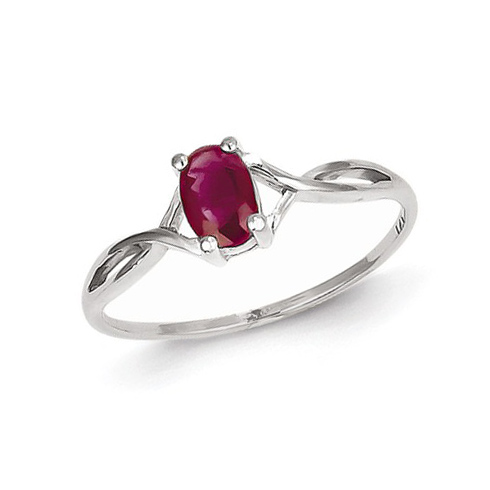 14kt White Gold 5/8 ct Oval Ruby Ring