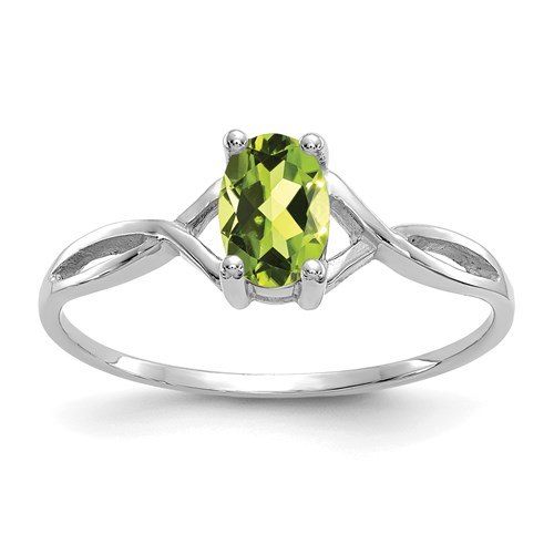 14kt White Gold 1/2 Ct Oval Peridot Ring