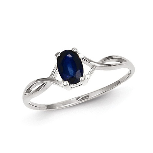 14kt White Gold 2/3 ct Oval Sapphire Ring
