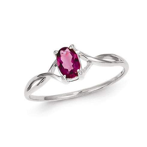 14kt White Gold 1/2 ct Oval Pink Tourmaline Ring