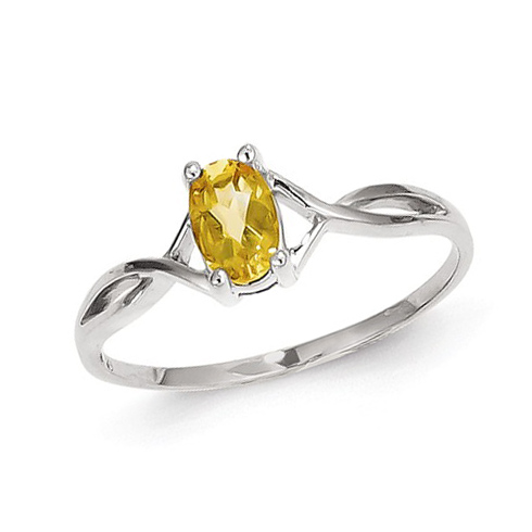 14kt White Gold 2/5 ct Oval Citrine Ring
