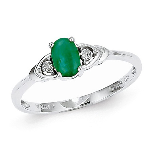 14kt White Gold 1/4 Ct Oval Emerald Ring with Diamond Accents