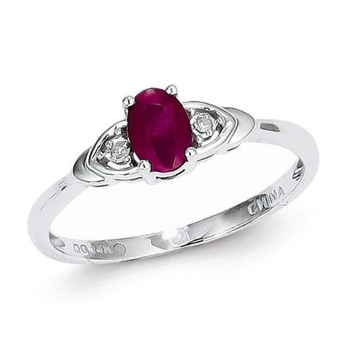 14kt White Gold 1/4 Ct Oval Ruby Ring with Diamond Accents