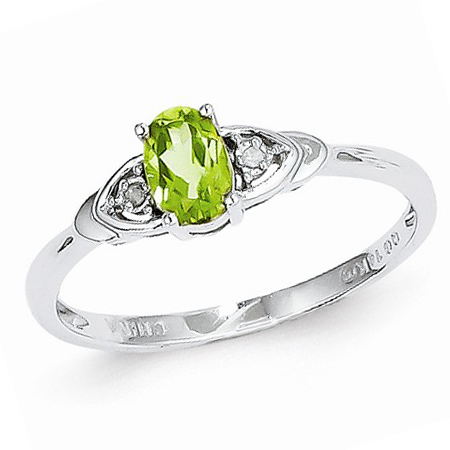 14kt White Gold 1/3 Ct Oval Peridot Ring with Diamond Accents