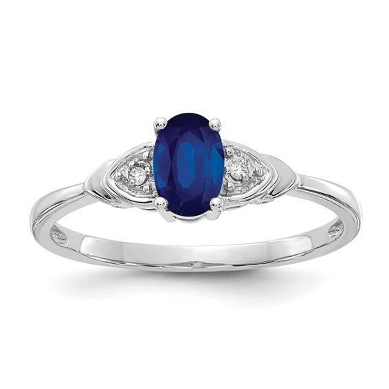14kt White Gold 2/3 Ct Oval Sapphire Ring with Two Diamond Accents