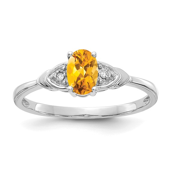 14kt White Gold 1/5 Ct Oval Citrine Ring with Diamond Accents