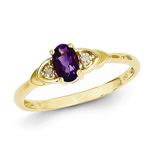 14kt Yellow Gold 1/5 Ct Oval Amethyst Ring with Diamond Accents