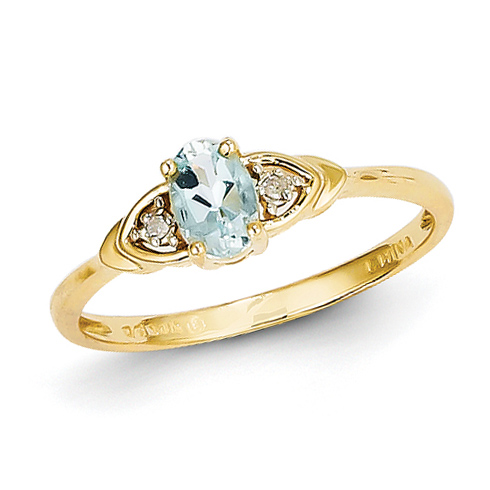 14kt White Gold 1/5 Ct Oval Aquamarine Ring with Diamond Accents