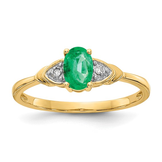 14kt Yellow Gold 1/4 Ct Oval Emerald Ring with Diamond Accents