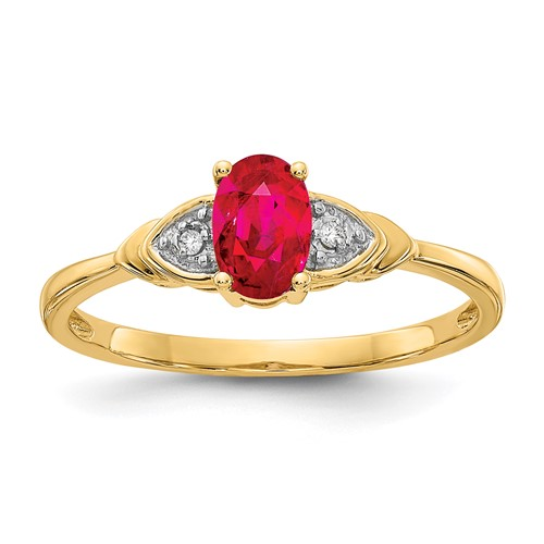 14kt Yellow Gold 1/4 Ct Oval Ruby Ring with Diamond Accents