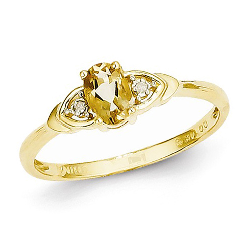14kt Yellow Gold 1/5 Ct Oval Citrine Ring with Diamond Accents