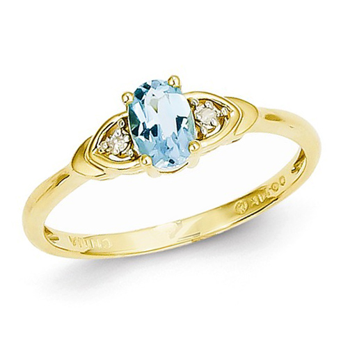 14kt Yellow Gold 1/3 Ct Oval Blue Topaz Ring with Diamond Accents