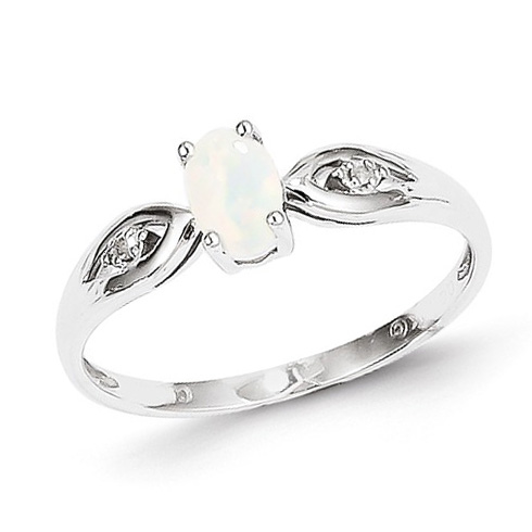 14kt White Gold 1/3 Ct Oval Opal Ring with Diamond Accents