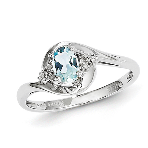 14kt White Gold 2/5 Ct Oval Bypass Aquamarine Ring with Diamonds